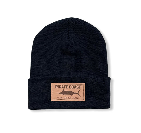 Marlin Coast Leather Patch Hat R18 Knit Beanie