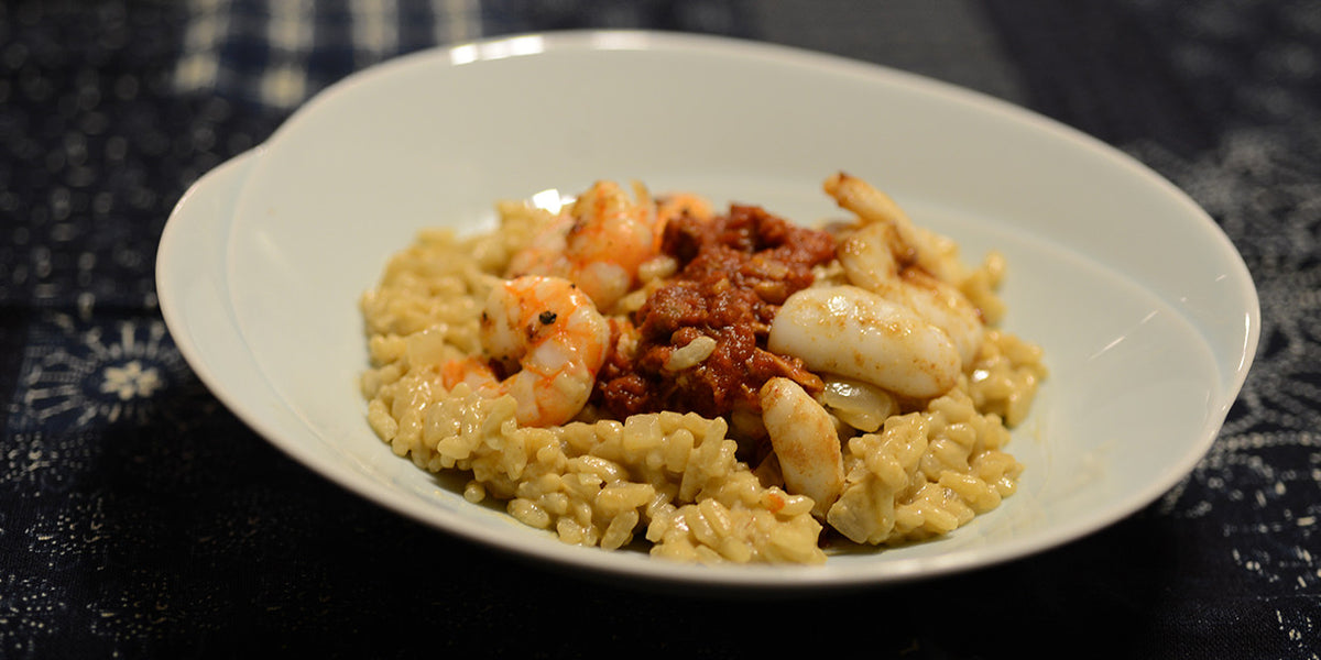 Seafood Coconut Risotto with Lobster Sauce