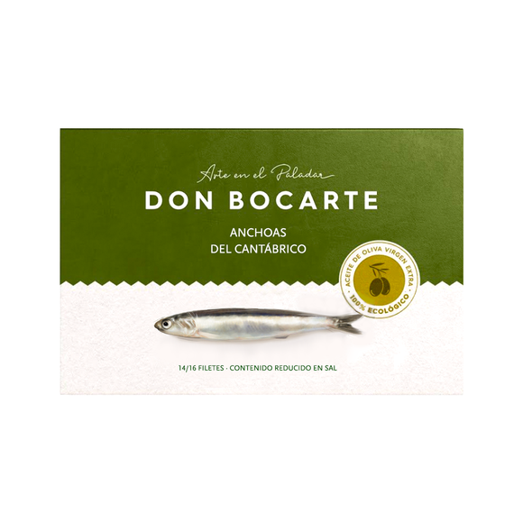 Cantabrian Anchovies in Organic Olive Oil 100g by Don Bocarte
