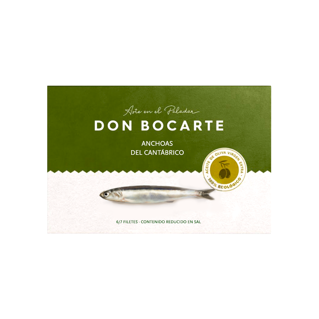 Cantabrian Anchovies in Organic Olive Oil 48g by Don Bocarte