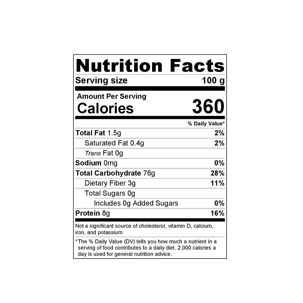Gluten-Free Teff Penne 400g Nutrition Facts