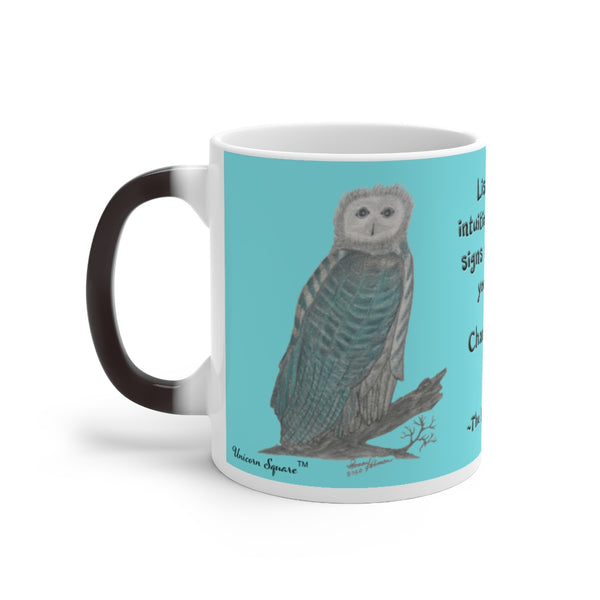 The Blue Winged Owl - Color Changing Mug - Unicorn Square