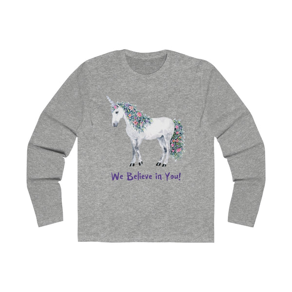 Men's Long Sleeve Crew Tee - Unicorn Square