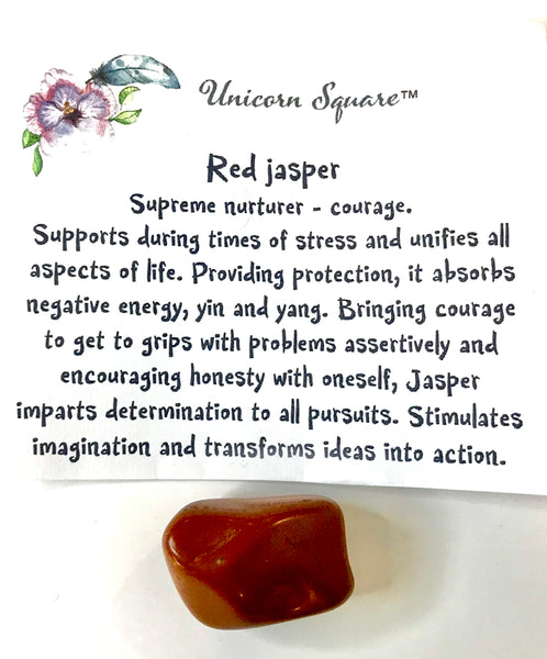 Unicorn  Square Red Emotional Support Fairy with Red Jasper - Unicorn Square
