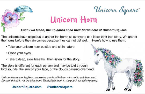Unicorn Horn ~ Green Homespun Flower filled with Dried Balsam - Unicorn Square