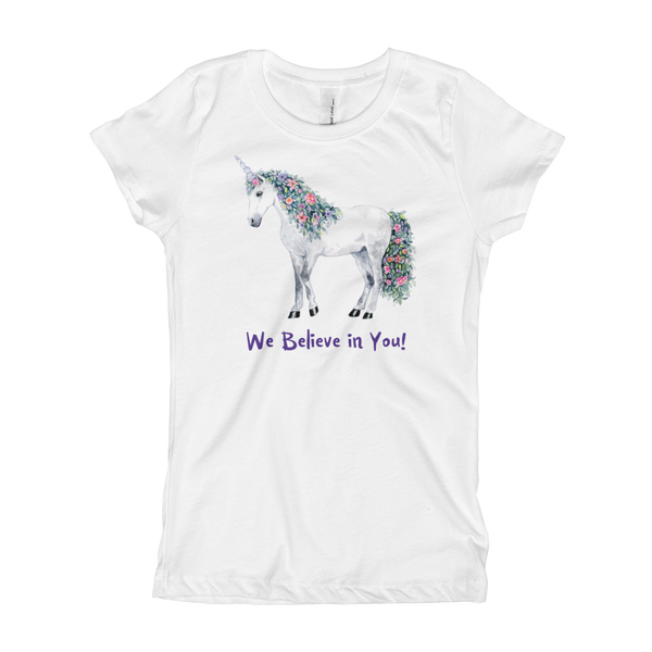 We Believe in You! Unicorn Girl's T-Shirt - Unicorn Square
