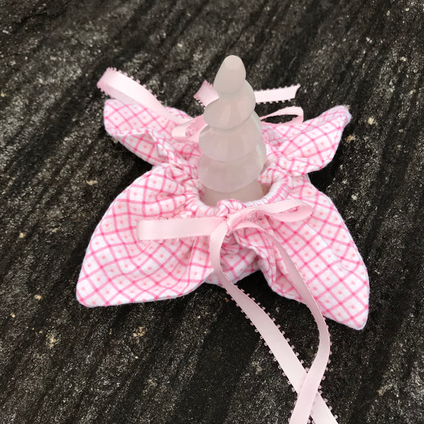 Unicorn Horn ~ Plaid Pink Flannel Flower filled with Dried Balsam - Unicorn Square