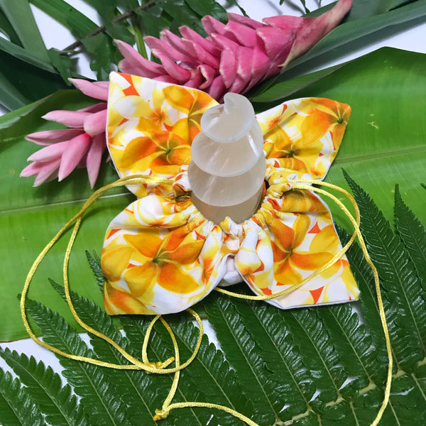 Unicorn Horn ~ Yellow Plumeria filled with Dried Lavender - Unicorn Square