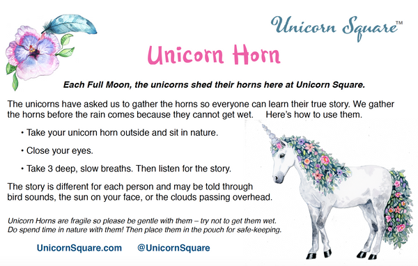 Unicorn Horn ~ White Flower filled with Dried Lavender - Unicorn Square