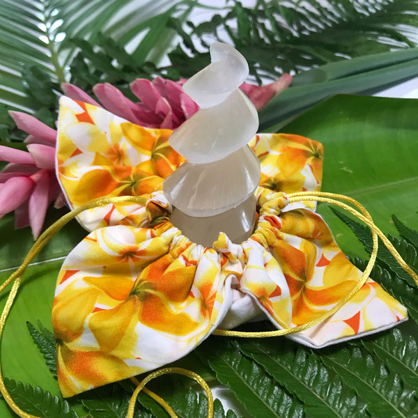 Selenite Unicorn Horn ~ Yellow Plumeria - Unicorn Square
