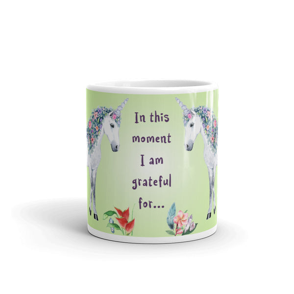 In this Moment I am Grateful For.... Unicorn Mug - Unicorn Square