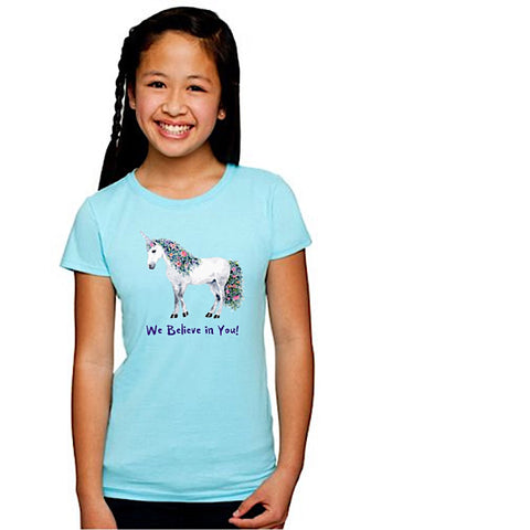 "unicornsquare - Girl's T-Shirt ~ ""We Believe in You!"" Unicorn - Clothing"