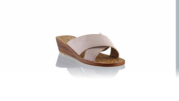 Leather-shoes-Ines 35mm Wedge - Soft Pink Linen-sandals wedges-NILUH DJELANTIK-NILUH DJELANTIK