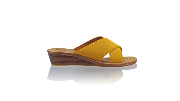 Leather-shoes-Ines 35mm Wedge - Yellow Linen-sandals Wedge-NILUH DJELANTIK-NILUH DJELANTIK