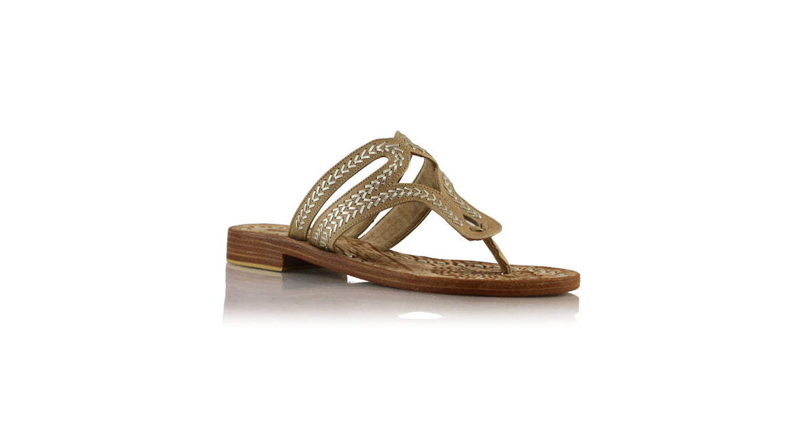 leather shoes Arrah Sulam Without Strap 20mm - Nude & Gold, sandals flat , NILUH DJELANTIK - 1