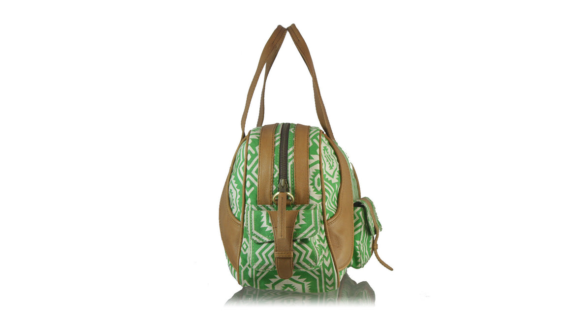 leather shoes Weekender Leather bag Brown And Green Canvas L, bag , NILUH DJELANTIK - 1