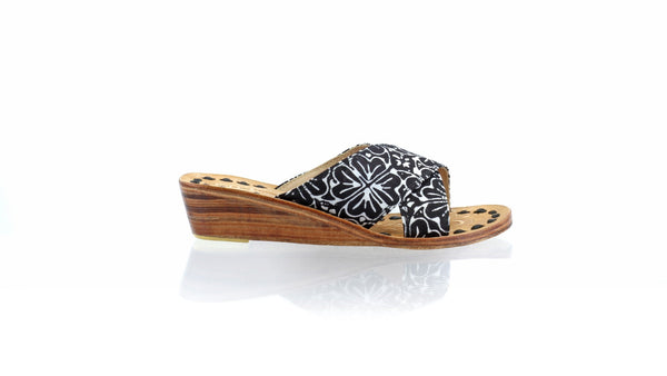 Leather-shoes-Ines 35mm Wedge - Black Batik Motif Flower-sandals wedges-NILUH DJELANTIK-NILUH DJELANTIK