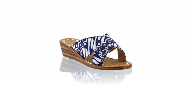 Leather-shoes-Ines 35mm Wedge - Navy Batik Motif Parang-sandals wedges-NILUH DJELANTIK-NILUH DJELANTIK