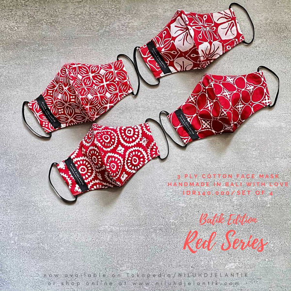 Leather-shoes-Batik 3 PLY cotton mask Set RED SERIES-Accessories-NILUH DJELANTIK-NILUH DJELANTIK