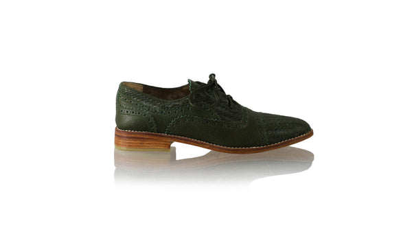 Leather-shoes-Nicola 25mm Flat - Dark Green-flats laceup-NILUH DJELANTIK-NILUH DJELANTIK