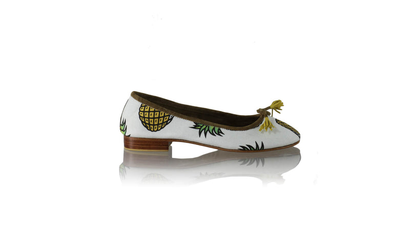 Leather-shoes-Sasha 20mm Ballet - White Canvas Pineapple Print-flats ballet-NILUH DJELANTIK-NILUH DJELANTIK