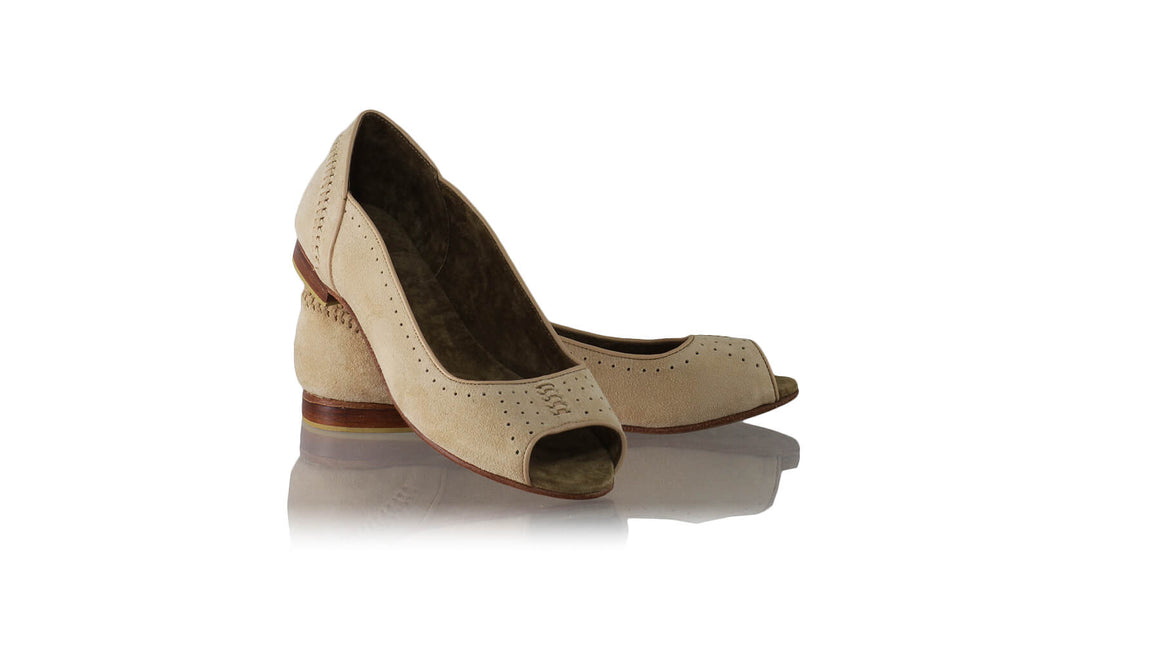 Leather-shoes-Donna Peeptoe 20mm Ballet - Nude Suede-flats ballet-NILUH DJELANTIK-NILUH DJELANTIK