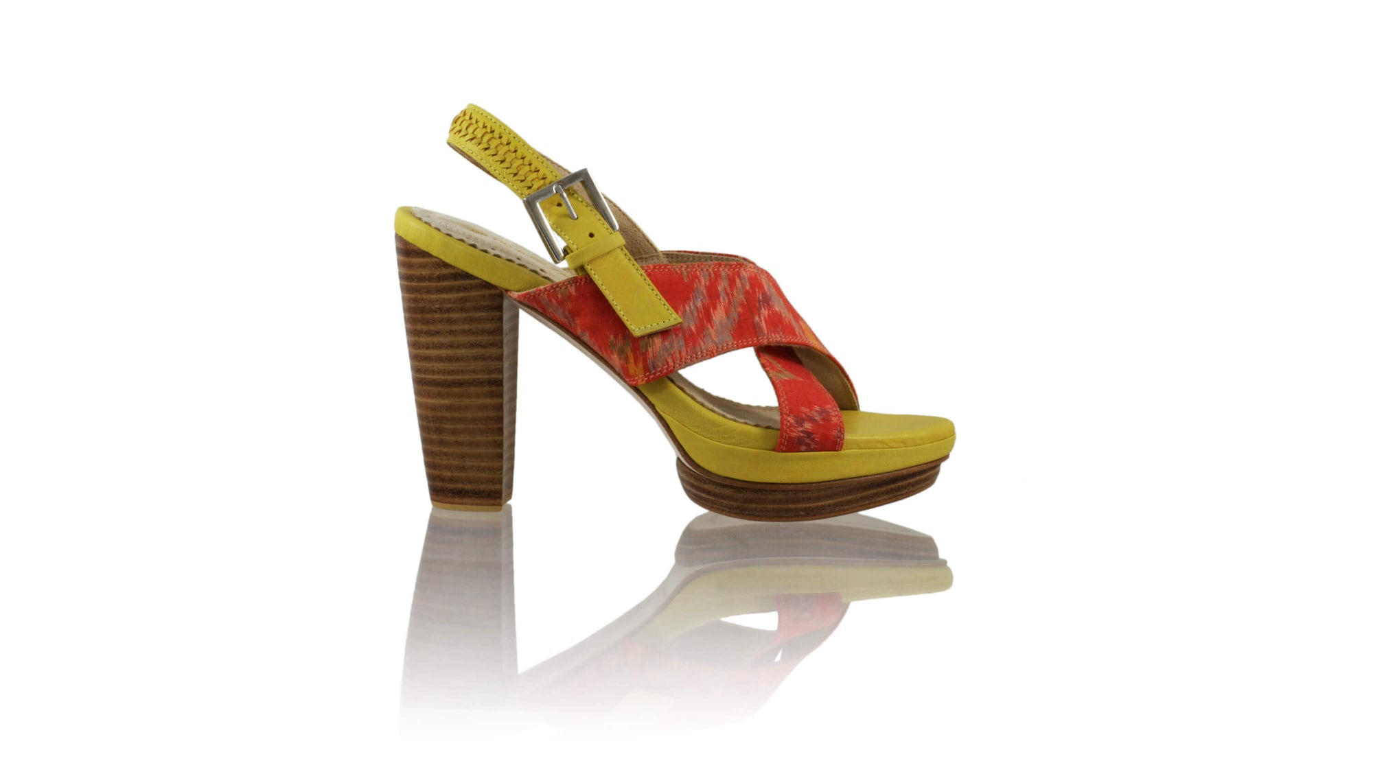 Leather-shoes-Ava 115mm WH PF - Yellow & Orange Handwoven Ikat-sandals higheel-NILUH DJELANTIK-NILUH DJELANTIK