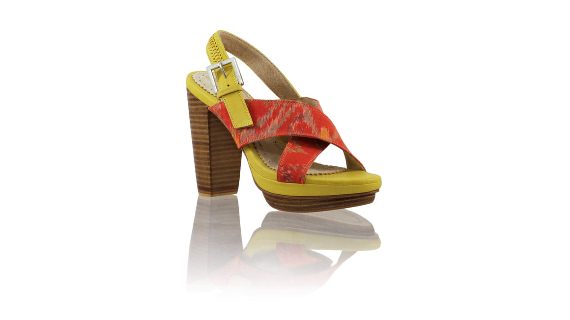 Leather-shoes-AVA PF 115MM WH - Yellow & Orange Handwoven Ikat-sandals higheel-NILUH DJELANTIK-NILUH DJELANTIK