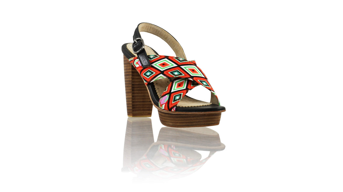 Leather-shoes-Ava PF 115mm WH - Black & Orange Diamond Motif-sandals higheel-NILUH DJELANTIK-NILUH DJELANTIK