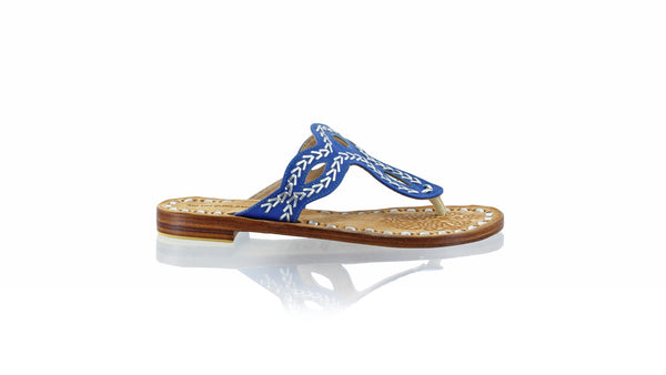 Leather-shoes-Africa 20mm Flat - Blue & Silver-sandals flat-NILUH DJELANTIK-NILUH DJELANTIK
