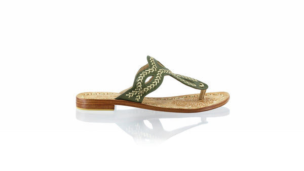 Leather-shoes-Africa 20mm Flat - Olive & Gold-sandals flat-NILUH DJELANTIK-NILUH DJELANTIK