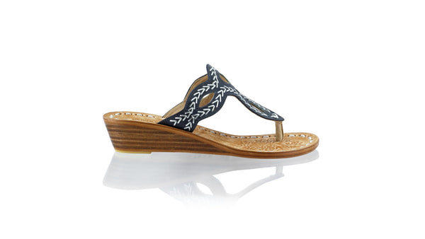 Leather-shoes-Africa 35mm Wedge - Black & Silver-sandals flat-NILUH DJELANTIK-NILUH DJELANTIK