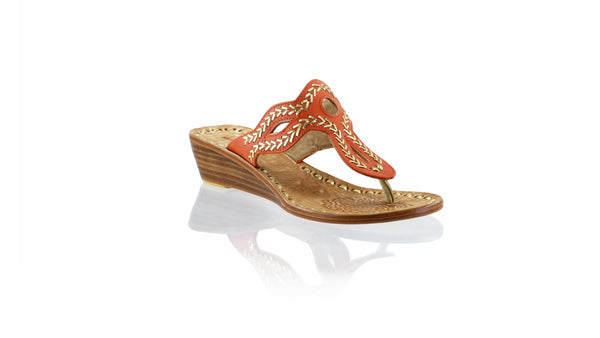 Leather-shoes-Africa 35mm Wedge - Orange & Gold-sandals flat-NILUH DJELANTIK-NILUH DJELANTIK
