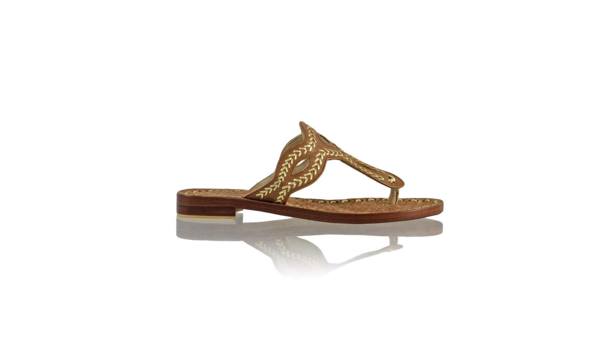 Leather-shoes-Africa 20mm Flat - Brown & Gold-sandals flat-NILUH DJELANTIK-NILUH DJELANTIK