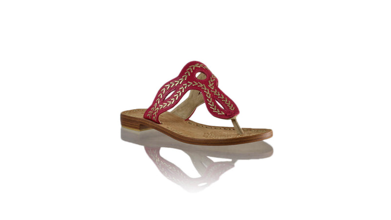 Leather-shoes-Africa 20mm Flat - Fuschia BKK & Gold-sandals flat-NILUH DJELANTIK-NILUH DJELANTIK
