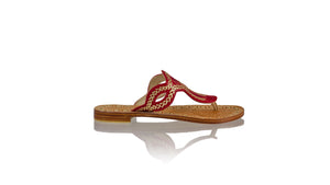 Leather-shoes-Africa 20mm Flat - Red & Gold-sandals flat-NILUH DJELANTIK-NILUH DJELANTIK