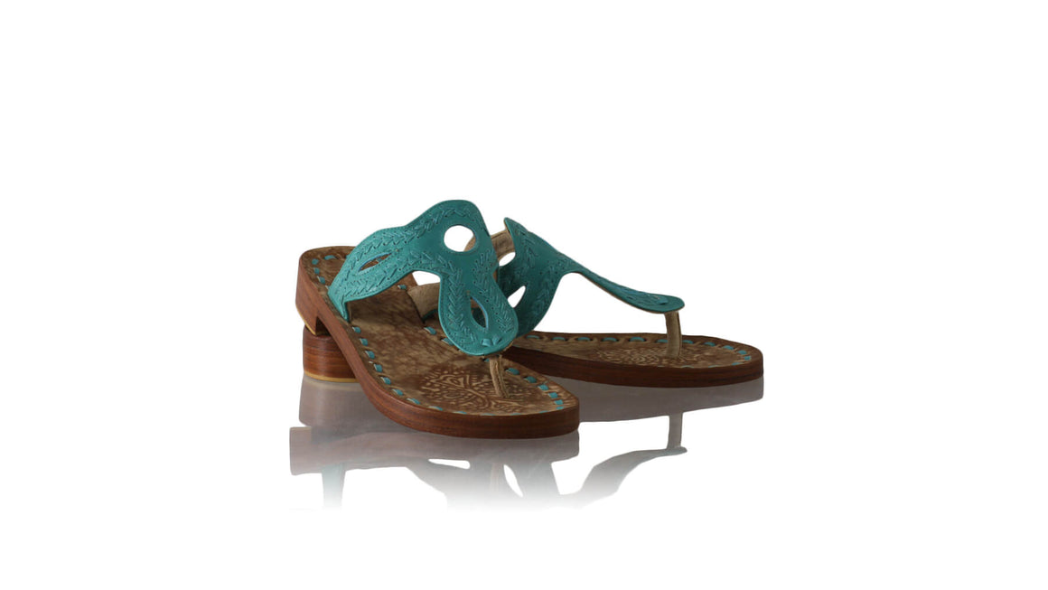 Leather-shoes-Africa 20mm Flats Sulam - Emerald-sandals flat-NILUH DJELANTIK-NILUH DJELANTIK
