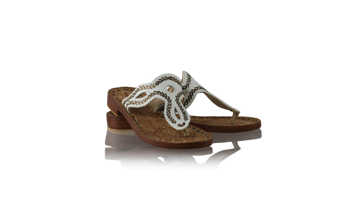 Leather-shoes-Africa 20mm Flats - White & Copper-sandals flat-NILUH DJELANTIK-NILUH DJELANTIK
