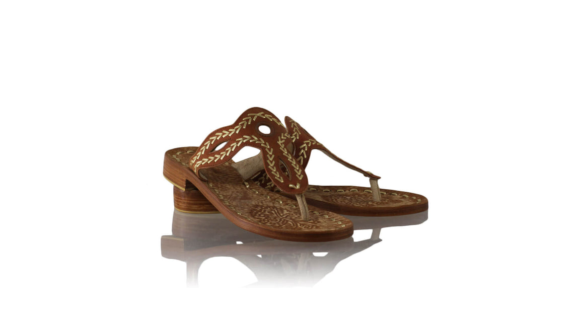 Leather-shoes-Africa 20mm Flats Sulam - Burnt Orange & Gold-sandals flat-NILUH DJELANTIK-NILUH DJELANTIK