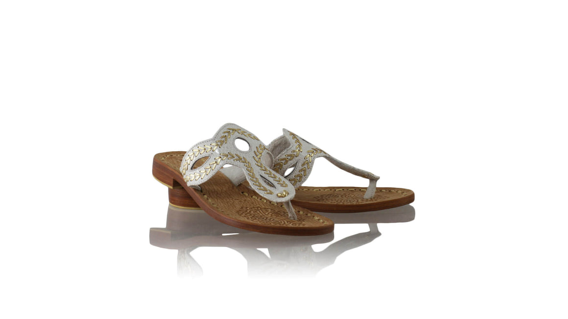 Leather-shoes-Africa 20mm Flats Sulam - Cream & Gold Snake Print-sandals flat-NILUH DJELANTIK-NILUH DJELANTIK