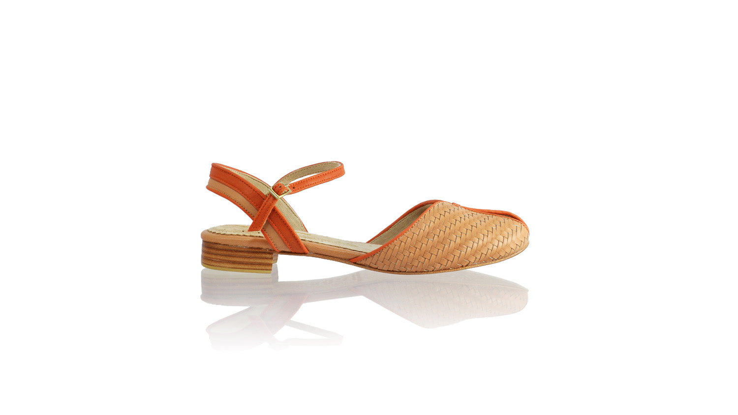 Leather-shoes-Agnes Woven 20mm Flat - Baby Pink & Orange-sandals flat-NILUH DJELANTIK-NILUH DJELANTIK
