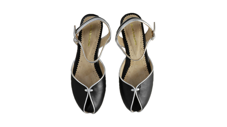 Leather-shoes-Agnes 20mm Flat - Black & Silver-sandals flat-NILUH DJELANTIK-NILUH DJELANTIK