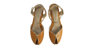 Leather-shoes-Agnes 20mm Flat - Camel & Gold-sandals flat-NILUH DJELANTIK-NILUH DJELANTIK