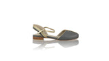 Leather-shoes-Agnes 20mm Flat - Dark Grey & Gold-sandals flat-NILUH DJELANTIK-NILUH DJELANTIK