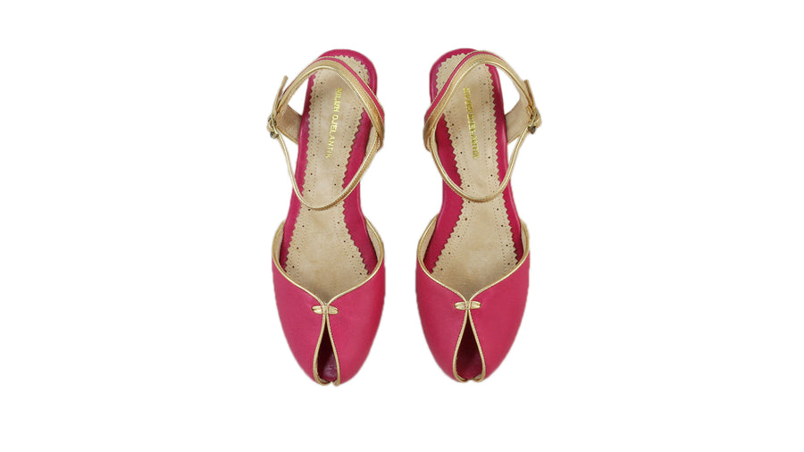 Leather-shoes-Agnes 20mm Flat - Fuschia & Gold-sandals flat-NILUH DJELANTIK-NILUH DJELANTIK