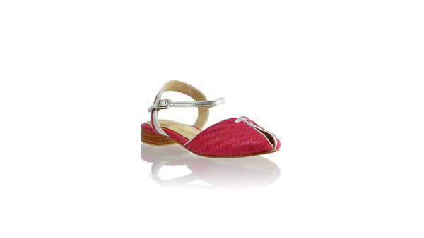Leather-shoes-Agnes Woven 20mm Flat - Fuschia & Silver-sandals flat-NILUH DJELANTIK-NILUH DJELANTIK