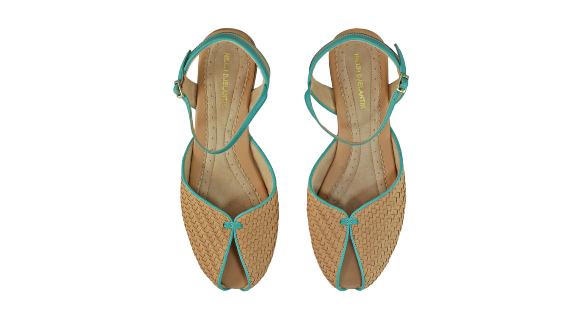Leather-shoes-Agnes Woven 20mm Flat - Nude & Emerald-sandals flat-NILUH DJELANTIK-NILUH DJELANTIK