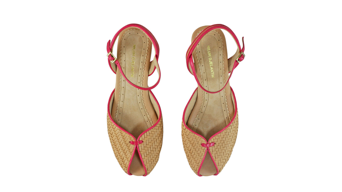 Leather-shoes-Agnes Woven 20mm Flat - Nude & Fuschia-sandals flat-NILUH DJELANTIK-NILUH DJELANTIK