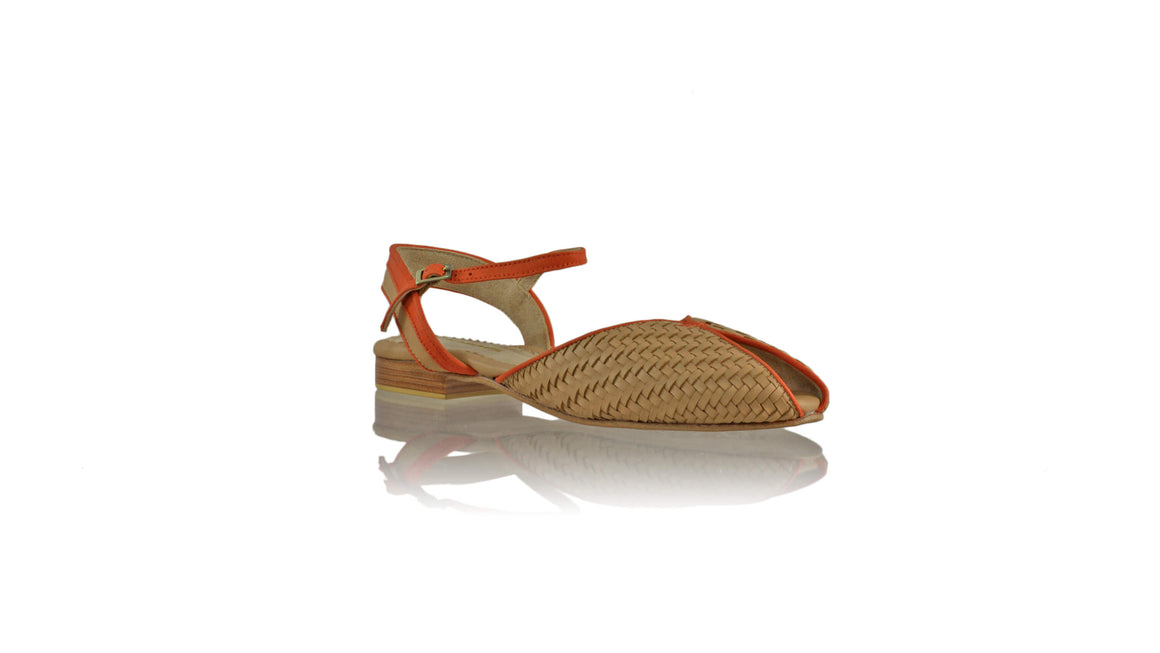 Leather-shoes-Agnes Woven 20mm Flat - Nude & Orange-sandals flat-NILUH DJELANTIK-NILUH DJELANTIK