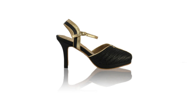 Leather-shoes-Agnes Woven 90mm SH-01 PF - Black & Gold-pumps highheel-NILUH DJELANTIK-NILUH DJELANTIK